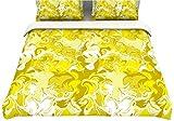 "Kess InHouse Anneline Sophia ""Marbleized In Gold"" Yellow Queen Cotton Duvet, 88 by 88-Inch"