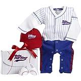 Baby Aspen, Big Dreamzzz Baby Baseball Three-Piece Layette Set, Blue, 0-6 Months