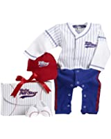 Baby Aspen, Big Dreamzzz Baby Baseball Three-Piece Layette Set, Blue, 0-6 Months