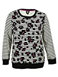 Jones New York Women's Plus Striped Printed Pullover Sweater