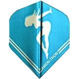 One Set 3435 Amerithon Blue On Silver Chrome Girl Dart Flights - Standard Shape
