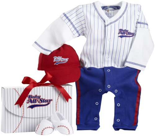 Baby Aspen Big Dreamzzz Baby Baseball Three Piece Layette Set in All-Star Gift Box, Blue, 0-6 Months