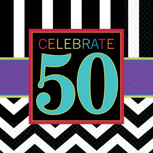 "Amscan 50's Celebration Theme Must-Have Beverage Table Napkins, Black/White/Cyan Blue/Violet, 5""x5"""