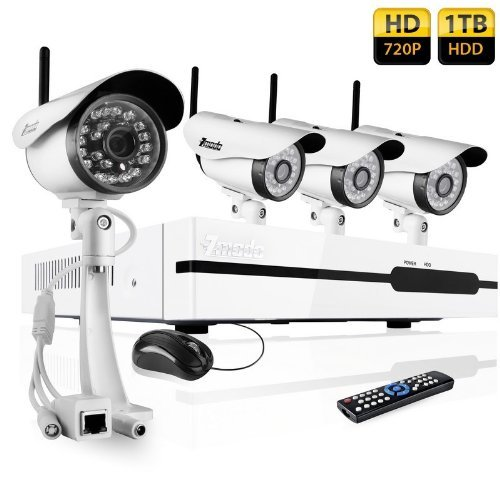 720P 4 Ch Wireless Nvr System With 1Tb Hard Drive With 4 Weatherproof Night Vision Wireless Ip Cameras