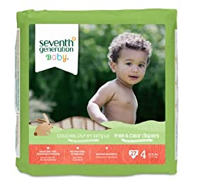 Seventh Generation Free and Clear, Unbleached Baby Diapers, Size 4, 135 Count