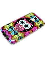 Samsung Galaxy S4 mini Housse Portable Coque Poche �tui Dur Dos Hard Case Motif Mosaic Chouette oeil