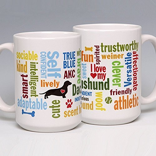 15 oz. Personalize this Ceramic Dachshund Coffee/Tea Mug ~ perfect for a dog or pet lover ~ can be customized (Kennel Tabletop compare prices)