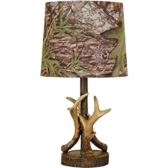 mossy oak deer antler accent lamp dark woodtone table lamps