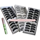 30 Paar Natural & Regular lange falsche Wimpern Wimpern + Kleber von Boolavard ® TM