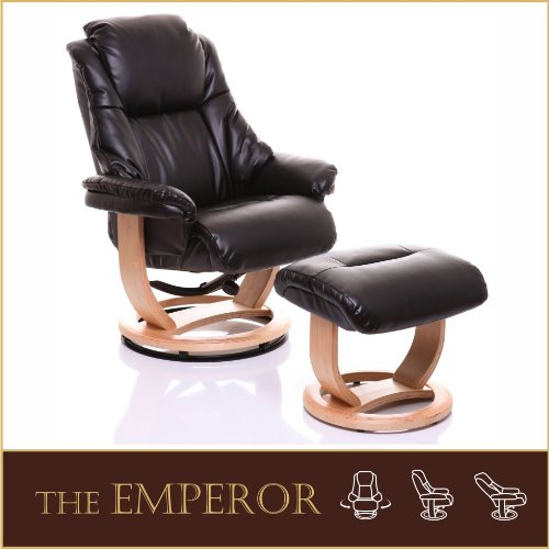 The Emperor - Bonded Leather Recliner Swivel Chair  &  Matching Footstool in Chocolate