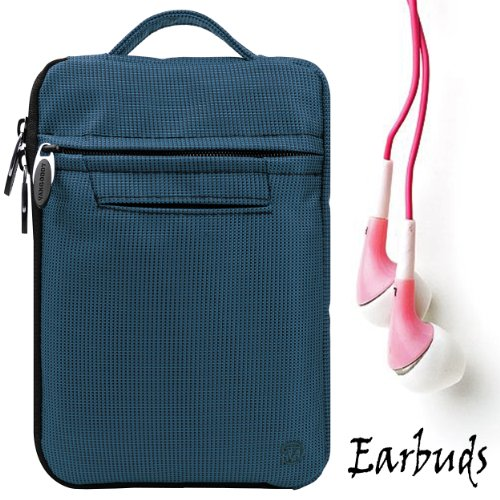 "Blue Fire Jacket Smooth Nylon Feel Protective Durable Quality Sleeve With Accessories Compartment For Amazon Kindle Fire Full Color 7"" Multi-Touch Display, Wi-Fi (Newest Tablet) + Includes A Crystal Clear High Quality Hd Noise Filter Ear Buds Earphones He"