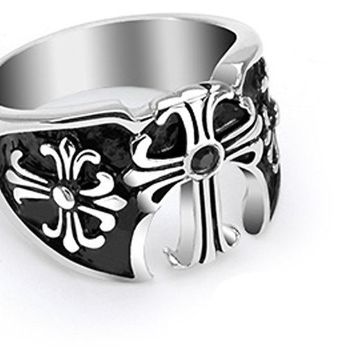 8.5MM High Polished Stainless Steel Biker Ring with Three Medieval Crosses on Sides and One in The Center with a Black CZ