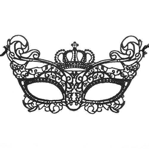 Women's Noble and Mysterious Lace Mask of Crown Design for Masquerade Party - Black