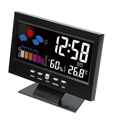 ESTGO多機能デジタル気象計 カレンダー・目覚まし時計付き温湿度計 置きタイプ LEDカラフル天気表示 室内・室外用 卓上大画面表示(ケーブル付け)