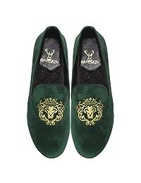 Bareskin Lion-King Special Mens Handmade Green Velvet Slipon With Embroidery - Limited Edition(Made On Order)