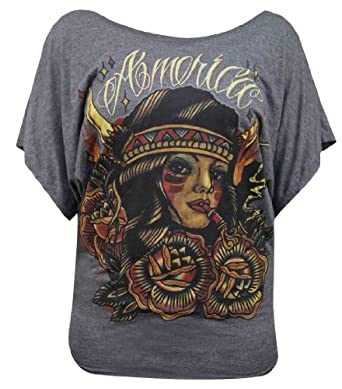 America by Johnny Gargan Short Sleeve Dolman Native American Tattoo T