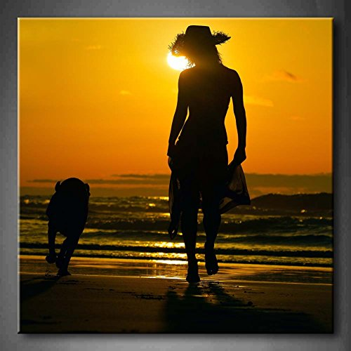 Yellow Orange Young Woman Silhouette On The Beach With Dog At Sunset Wall Art Painting Pictures Print On Canvas Animal The Picture For Home Modern Decoration (Stretched By Wooden Frame,Ready To Hang)