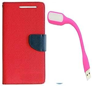 Novo Style Wallet Case Cover For MotorolaMoto E Red + Mini USB LED Light Adjust Angle / bendable Portable Flexible USB Light