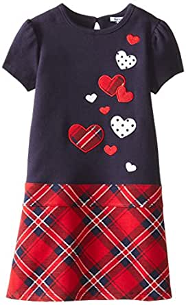 Hartstrings Little Girls' Cotton Interlock Printed Plaid Dress, Peacoat, 2T