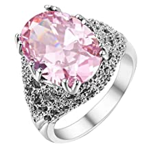 BlueTopTM Fashion Gorgeous Platinum Plating Pink Crystal Use Swarovski Crystal Party Wedding Engagement Oval Ring,Size