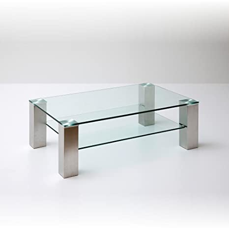 Robas Lund 58628Z14 ASTA  Table basse rectangulaire Verre/Acier satiné Transparent 70 x 110 x 40 cm