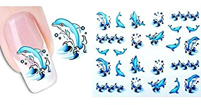 Ottery Lively dolphins Nail Stickers Water Transfers Decals Nail Art Decal / Tattoo / Sticker Beauty Nail Salon For Girls