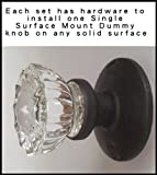 Single Surface Mount French Door Dummy Knob. Perfect Replica of the 12 Point Depression Crystal Knobs with Oil Rubbed Bronze Rosette. Installon any solid surface or one side of a French Door.