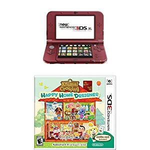 Nintendo 3DS XL Red with Animal Crossing: Happy Home Designer by Nintendo