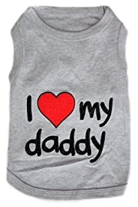 Parisian Pet I Love Daddy Dog T-Shirt, Large