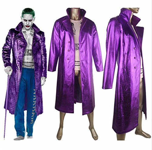 Suicide Squad Joker Jared Leto Trench Coat Jacket Outfit Halloween Cosplay Costume Comic-con