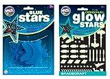 The Original Glowstars Company Cosmic Glow Stars and Glow Spacecraft (Blue)