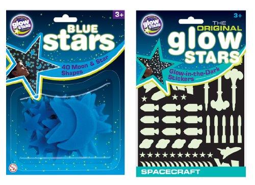 The Original Glowstars Company Cosmic Glow - Pegatinas que brillan en la oscuridad, diseño de estrellas y naves espaciales, color azul