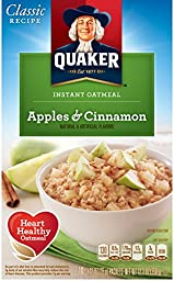 Quaker Instant Oatmeal, Apples & Cinnamon, Breakfast Cereal, 10-(1.51oz) Packets Per Box (Pack of 4)