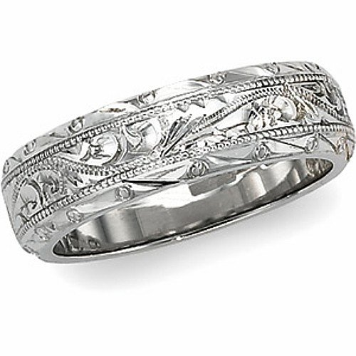 Platinum Hand-Engraved Wedding Band For Men and Women &#8211; Size 7