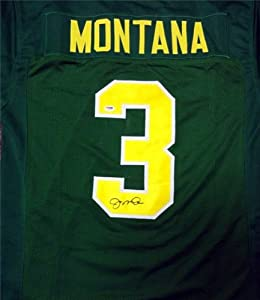 Joe Montana Autographed Hand Signed Notre Dame Green Jersey PSA DNA by Hall+of+Fame+Memorabilia