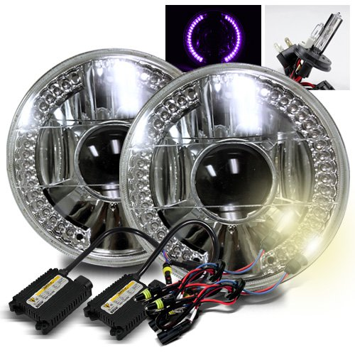 """4300K Stock White H4-2 Low Beam Xenon/High Beam Halogen Slim Hid/7"""" Round 6014/6015/6024 Chrome Projector Headlights With Purple Led Ring"""