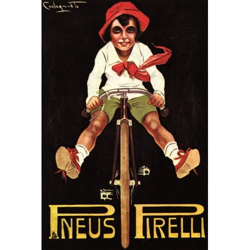 BOY RIDING A BICYCLE BIKE CYCLES PNEUS TIRES 24 X 36 VINTAGE POSTER REPRO