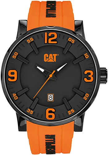 CAT Bold 46MM Men's Quartz Watch with Black Dial Analogue Display and Orange Silicone Strap NJ.161.24.134