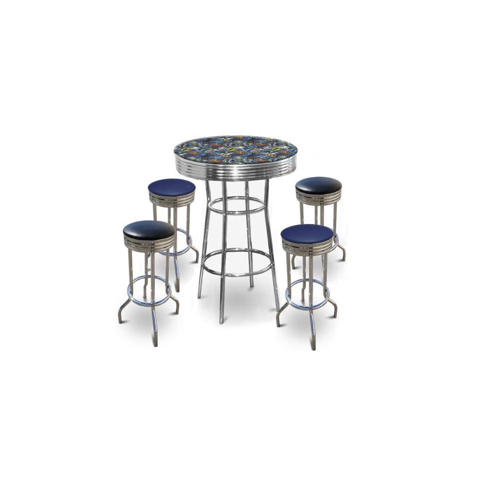 Batman Themed 5 Piece Bar Table Set Glass Top Table with 2 Blue Vinyl & 2 Black Vinyl Swivel Seat Bar Stools