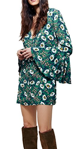 R.Vivimos® Women Flowers Print Long Sleeve Long Shirt Cardigan Dresses Small Green (Green Tye Dye Long Sleeve Shirt compare prices)