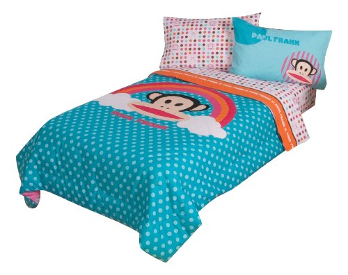 Paul Frank Julius Rainbow Dots Reversible 64 By 86-Inch Comforter, Twin back-80169