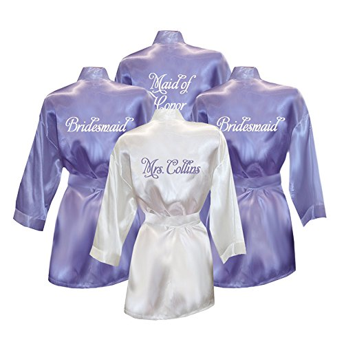 Set of 4 Personalized Bridesmaid Satin Robes (Personalized Bridesmaid Robes compare prices)