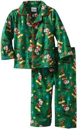 Disney Baby-Boys Infant Mickey Flight Academy Long Sleeve Pajama Set, Green, 12 Months