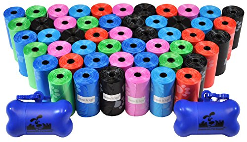 Downtown Pet Supply Dog Pet Waste Bags with Two Free Leash Clips and Dispensers, 1000 Bags, Rainbow with Paw Prints (Downtown Pet Supply compare prices)