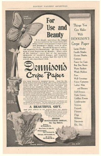 1905 Dennison's Crepe Paper Lamp Screen Whisk Holder Original Print Ad (49023) (Crepes Paper Holder compare prices)