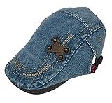 (ビグッド)Bigood レディース メンズ 兼用 帽子 カジュアル キャップ デニム ハンチング帽 サンバイザー クロス デザイン 日焼け防止 通勤 お出かけ(ブルーA)