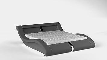 Bett MALIBU Betgestelle Polsterbett Ehebett Doppelbett mit LED (160 x 200 cm, Grau)