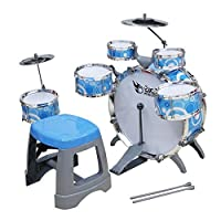 Prettybuy Jazz Drum Rock Set Kids Music Toy, Percussion Music Enlightenment Toy, Musical Band Drum Set, Kids Toy Drum Set, Musical Instrument Toy Playset for Kids (Blue)