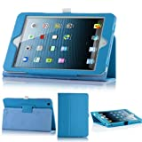 Magnetic Leather Folio Stand Case Smart Cover For iPad Mini Light Blue