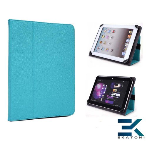 Apple Ipad Mini Case | Universal Book Folio 7-Inch Tablet Cover With Stand - Turquoise. Bonus Ekatomi Screen Cleaner